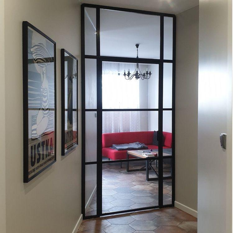 Drzwi uchylne industrialne loft LOFTOWE szklane przeszklone metalowe producent dla Marty S. | Warszawa