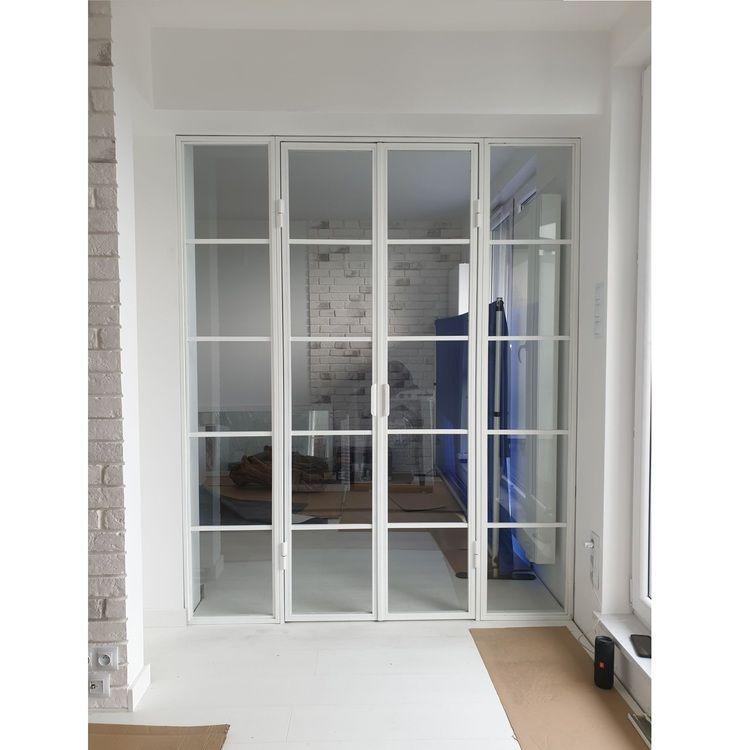 ściany ścianki industrialne loftowe loft szklane przeszklone drzwi przesuwne mag haus wyposażenie biur i restauracji szklane gdansk kielce dwuskrzydłowe  .l6